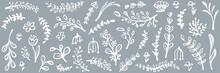Hand Drawn Floral Web Banner. Design For Greeting Card, Easter Decoration, Sale Backdrop, Invitation. Vector Illustration.