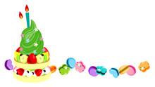 ポッキーと花でデコレーションしたカラフルなソフトクリームとフルーツいっぱいのパンケーキにマカロンを添えて-3|Colorful Soft Serve Ice Cream Decorated With Pocky And Flowers And Pancakes Full Of Fruits With Macaroons-3