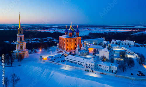 Fotografering Aerial view of the Kremlin with Assumption Cathedral in the city of Ryazan