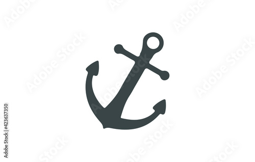 Fototapeta Anchor vector icon logo boat pirate helm Nautical maritime illustration symbol simple graphic obraz