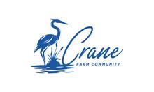Crane Logo Design Inspiration - Isolated Vector Illustration On White Background - Creative And Fresh Logo, Icon, Symbol, Badge, Emblem Of Crane, Heron, Stork, Egret, Hern On The Pool
