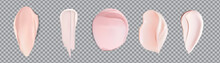 Pink Cream Smears Swatch Set Isolated On Transparent Background.Vector Realistic Smears Set Of Pink Froth Cosmetics, Shaving Gel Or Creme. Smudges Of Mousse,vector Illustration.