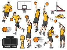 Basketball Players And Sport Game Equipment Items, Vector Icons. Basketball Or Streetball Basket And Player Dunk With Ball, Team Male Athletes Jumping And Dribbling Ball, Scoreboard And Cup Award