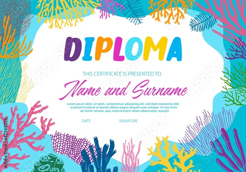 Fototapeta Diploma with underwater seaweeds vector template. School or diving club certificate with under water alga. Scuba diving border design, education diploma for participation, achievement or graduation obraz
