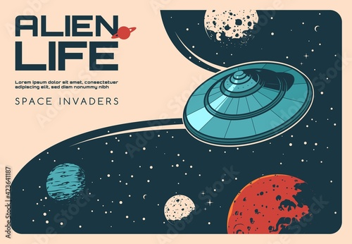 Papel de parede Aliens UFO in outer space, galaxy universe planets, vector vintage poster
