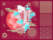 Abstract Art Japanese Flying KOI Carp Fish With Water Splash Surrounded And Vector Graphics Ornaments With Traditional Motives, Sun With Flower, Golden Simple Clouds Template Design For Wrapping Paper