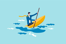 Leadership To Overcome Business Difficulty, Skill Or Decision Making To Survive In Crisis Concept, Ambitious Businessman Professional Kayaking Or Canoe Boat With Full Effort To Survive The Ocean Storm
