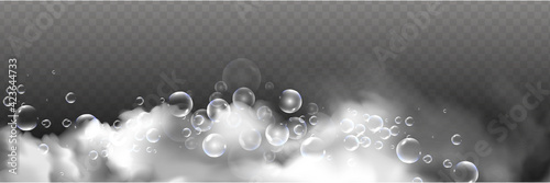 Fototapeta Bath foam with shampoo bubbles isolated on a transparent background. Vector shave, foam mousse with bubbles top view template for your advertising design. obraz
