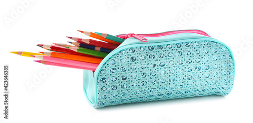 Cuadros en Lienzo Case with colorful pencils on white background