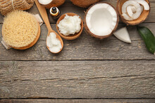 Spa Composition With Coconut Oil On Wooden Background