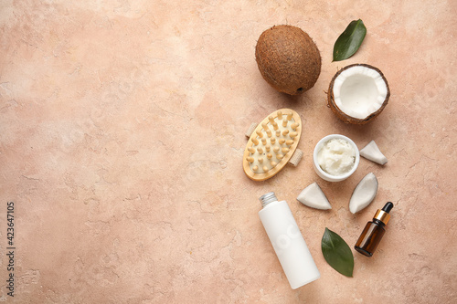 Obraz Spa composition with coconut oil on color background - fototapety do salonu
