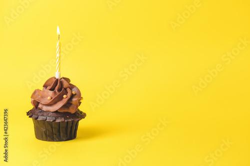 Obraz na plátně Tasty chocolate cupcake with candle on color background