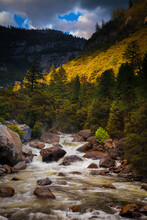 The Merced River Cascading Just Outside Of Yosemite National Park