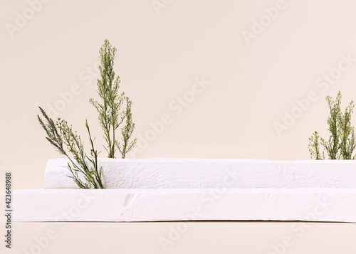 Fototapeta Abstract white podium, pastel background for product presentation, object placement, cosmetic podium template, 3d rendering obraz