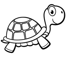 Vector Outlined Turtle Cartoon Design