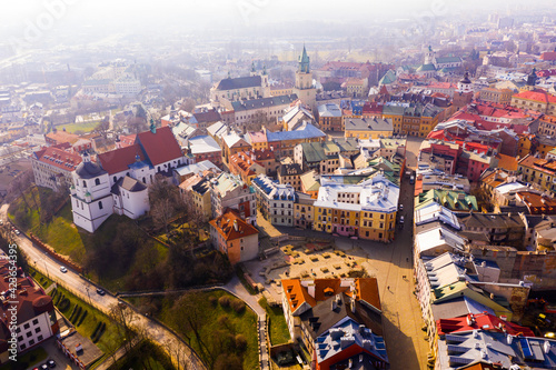 Fotografia, Obraz View from drone of historic center of Lublin with Old Church Square and Dominica