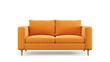 Leinwandbild Motiv Modern orange textile sofa on isolated white background. Furniture for modern interior, minimalist design.