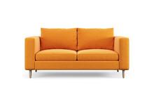 Modern Orange Textile Sofa On Isolated White Background. Furniture For Modern Interior, Minimalist Design.