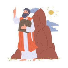 Prophet Moses Hold Stone Tablets With Commandments Of God On Mount Sinai.