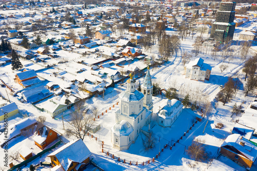 Valokuva Aerial view of Russian town of Venyov overlooking temple complex of former Epiphany monastery and belfry of St