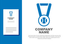 Blue Medal With Baseball Ball Icon Isolated On White Background. Winner Symbol. Logo Design Template Element. Vector