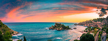 Colorful Sunset Sky At Isola Bella Nature Reserve In Taormina, Sicily