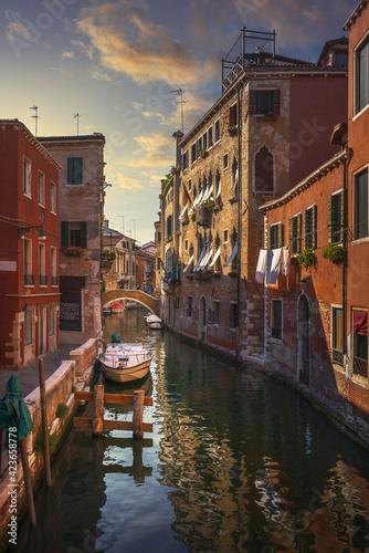 Obraz na plátně Venice cityscape, buildings, water canal and bridge. Italy