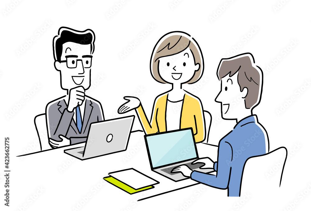 Fototapeta ベクターイラスト素材:打ち合わせをするチーム、ビジネスシーン