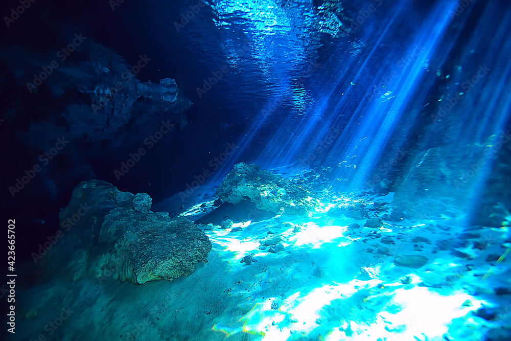 Fototapeta underwater cave stalactites landscape, cave diving, yucatan mexico, view in cenote under water