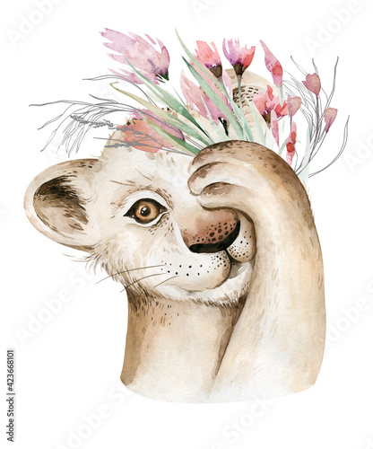 Fototapeta A trendy poster with a lion. Watercolor cartoon lion savanna animal illustration. Jungle savannah tropical exotic summer print obraz