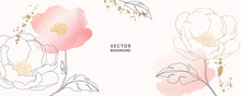 Minimal Background In Pink Peony Flowers And Tropical Summer Leaf