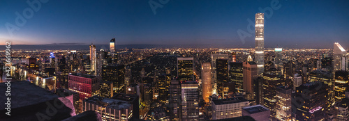 Fotografia, Obraz View of New York Manhattan during sunset hours