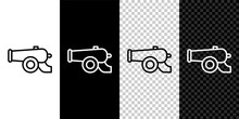 Set Line Ramadan Cannon Icon Isolated On Black And White, Transparent Background. Vector