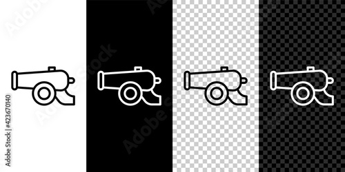 Photo Set line Ramadan cannon icon isolated on black and white, transparent background