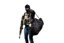 Robber With A Gun And A Bag Of Money Isolated On White Background