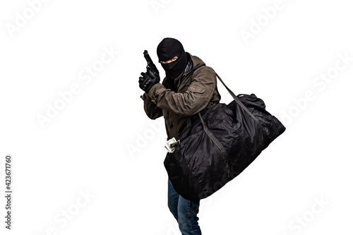 Fototapeta robber with a gun and a bag of money isolated on white background