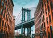 View of Manhattan bridge from dumbo, Brooklyn, in New York City