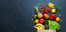 Healthy Food Banner On A Black Background