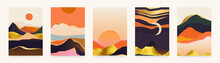 Trendy Abstract Landscape Illustrations. Set Of Hand Drawn Contemporary Artistic Posters.