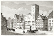 canvas print picture - Square fronting eighteenth century buildings during everyday life in Regensburg, Germany. Ancient grey tone etching style portrait by Lancelot, Le Tour du Monde, 1862