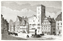 Square Fronting Eighteenth Century Buildings During Everyday Life In Regensburg, Germany. Ancient Grey Tone Etching Style Portrait By Lancelot, Le Tour Du Monde, 1862