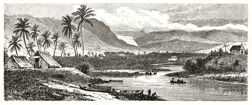 Large tropical landscape horizontal arranged with palms, huts and river in the center. saint-Gilles, Reunion island. Ancient grey tone etching style art by De Berard, Le Tour du Monde, 1862