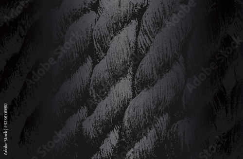 Fototapeta Luxury black metal gradient background with distressed twisted rope, cable texture. obraz