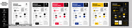 Fotografia, Obraz DIN A3 Brand Guidelines Poster Layout Set, Brand Manual Templates, Simple style
