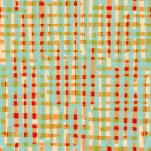 Vector Watercolor Effect Plaid Seamless Pattern Background. Organic Painterly Brush Stroke Blend Backdrop. Multicolor Gingham Checked Fabric Style. All Over Preppy Crinkle Cloth Print For Summer.