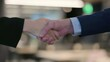 Hands Close up of Businessman and Businesswoman Shaking Hands