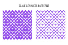 Seamless Pattern Of Mermaid Scales Beautifully Arranged Fish Scales. Isolated On Background