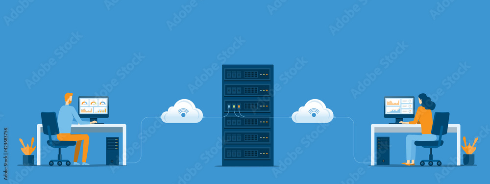 Fototapeta business technology cloud computing service concept and datacenter storage server connect on cloud with administrator and developer team working concept