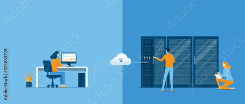 Slika na platnu business technology cloud computing service concept and datacenter storage serve