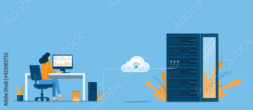 Tela business technology cloud computing service concept and datacenter storage serve